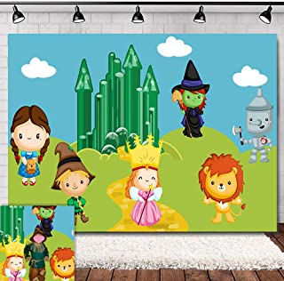 Emerald City Cartoon Scenery Photo Background 7x5ft Vinyl Baby Children Happy Birthday Decorations Wizard of Oz Photography Backdrop Baby Shower Supplies Candy Table