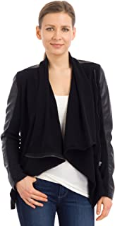 jacket with leather sleeves women's