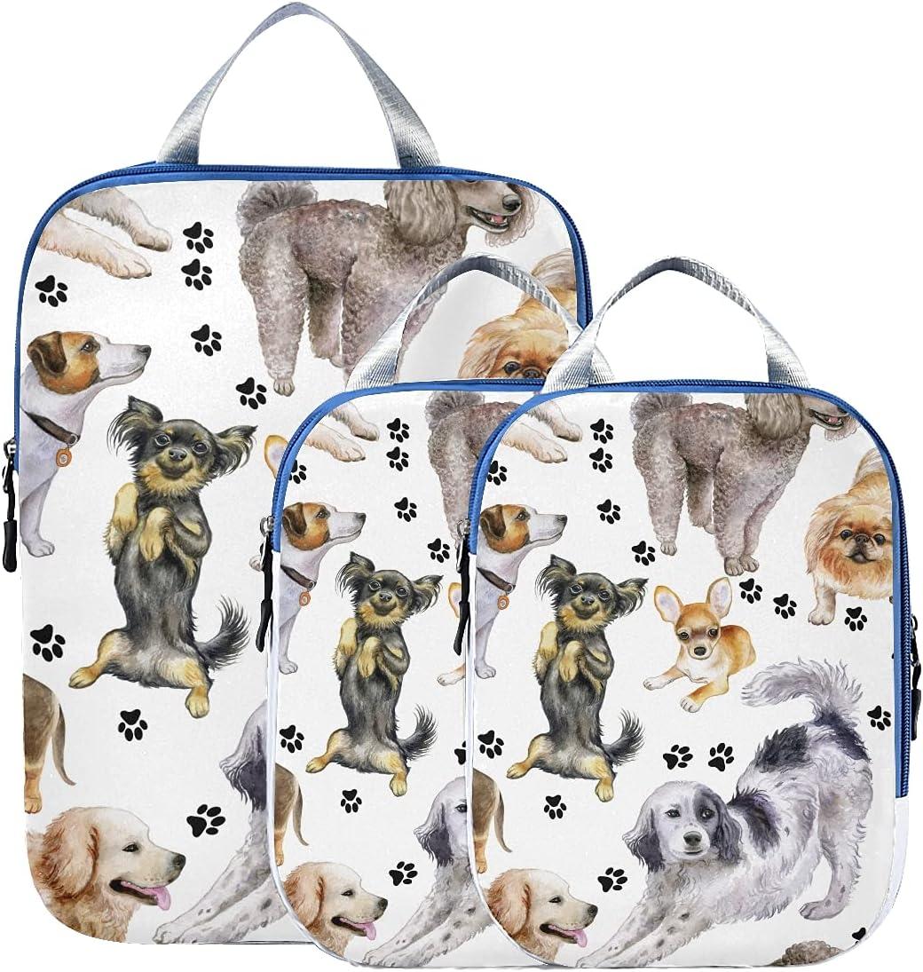 Suitcase Organizer Bags Set Cute Overseas parallel import regular item Dog Award-winning store Puppy Paw Print Suit Animal