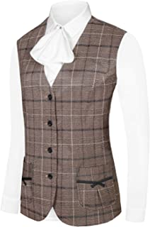 Hanayome Women's Formal Casual Vest Four Buttons Fully Lined Plaid Waistcoat with Special Design Pocket