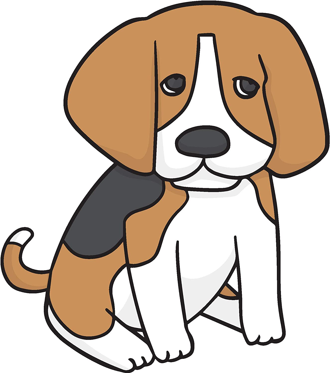 Amazon Com Cute Adorable Cuddly Beagle Puppy Dog Cartoon Vinyl Sticker Sitting Automotive