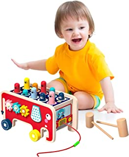 Arkmiido 4 in 1Wooden Pounding Bench Toy with Pull Car Wood Hitting Hamster Game Early Educational Wood Hammering Toy for ...