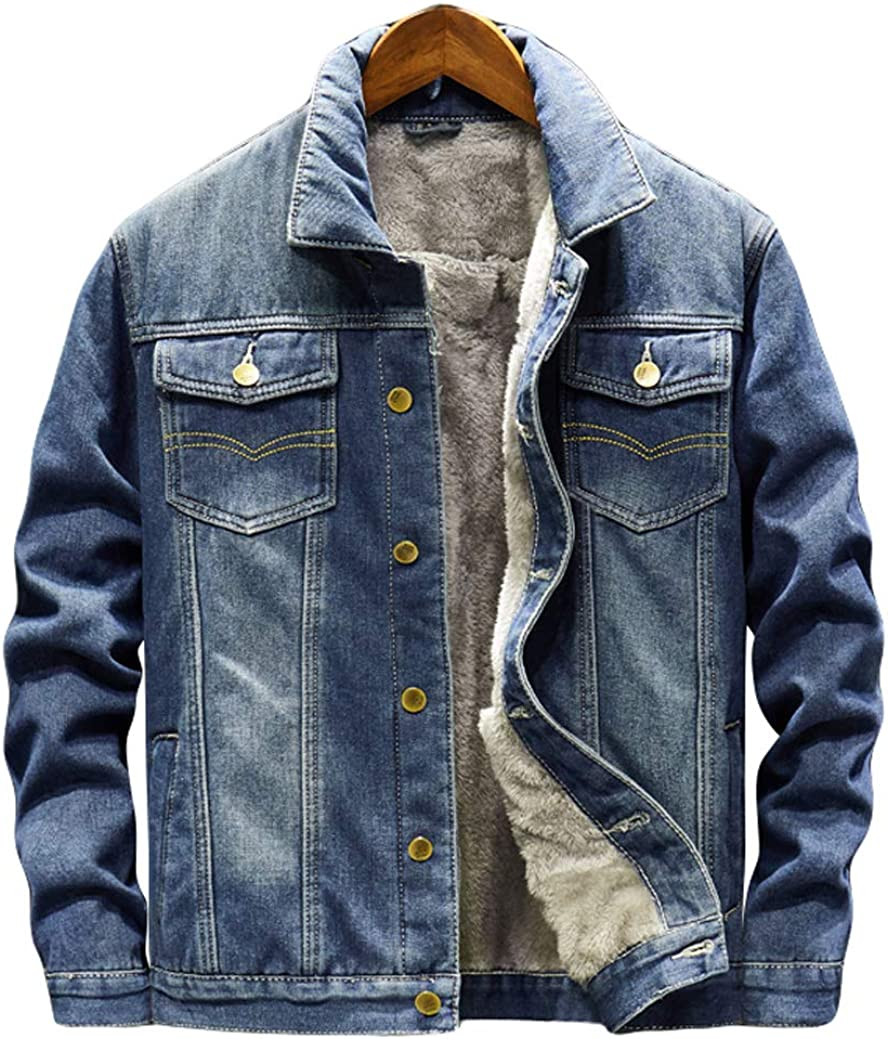 Yoeuxet Mens Max 72% OFF Classic Fleece Lined Distressed Bargain sale Spread Collar Thick