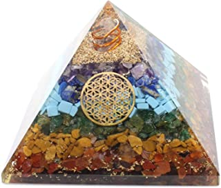 Orgone Crystal Seven Chakra Pyramid with Copper Flower of Life Symbol/Gemstone for Chakra Balancing/Emf Protection Psychic...