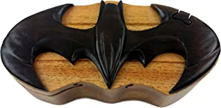 Oberstuff.com Batman, All Natural Exotic Woods Puzzle Box, 6.75 x 3 x 2 with Sliding Wooden Key Lock, Sliding Cover and Inner Lid to Hidden Compartment. Hand-Made Wood Onlay Design on Lid.