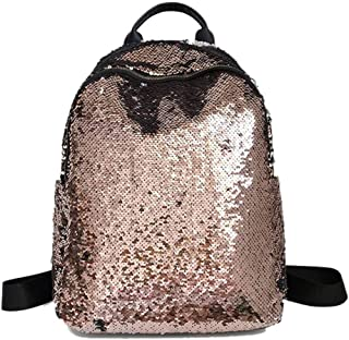 Glitter Bling Sequins Backpack Women Large Capacity NEW Leather Backpack Gold