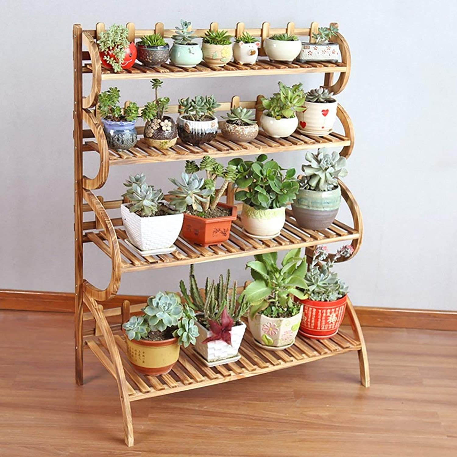Shiyanghang Outdoor Indoor Display Plant Stand Simple and Fashionable Wood Flower Shelf, Garden Courtyard Balcony Living Room Plant Frame, Flower Plant Storage Rack (color   B, Size   90CM)