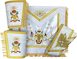 Bricks Masons Masonic Rose Croix 33rd Degree Apron, Gauntlets and Collar Set