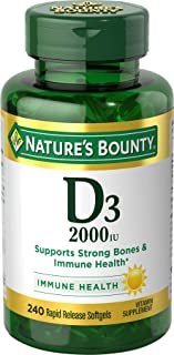 Vitamin D by Nature's Bounty, Supports Immune Health & Bone Health, 2000IU Vitamin D3, 240 Softgels