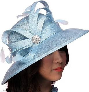 Women Hat Summer Sun Hat Sinamay Feather Ribbons Wide Brim Light Blue