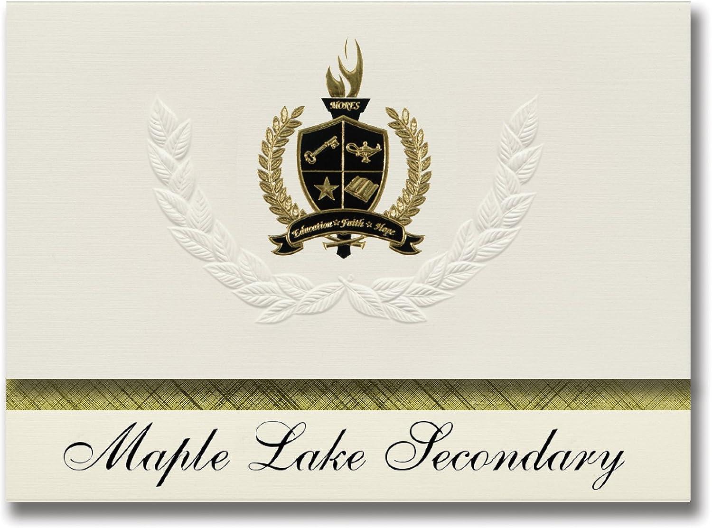 Signature Ankündigungen Maple Lake Sekundär (Maple Lake, MN) Graduation Ankündigungen, Presidential Stil, Elite Paket 25 Stück mit Gold & Schwarz Metallic Folie Dichtung B078TSYQFK    Gute Qualität