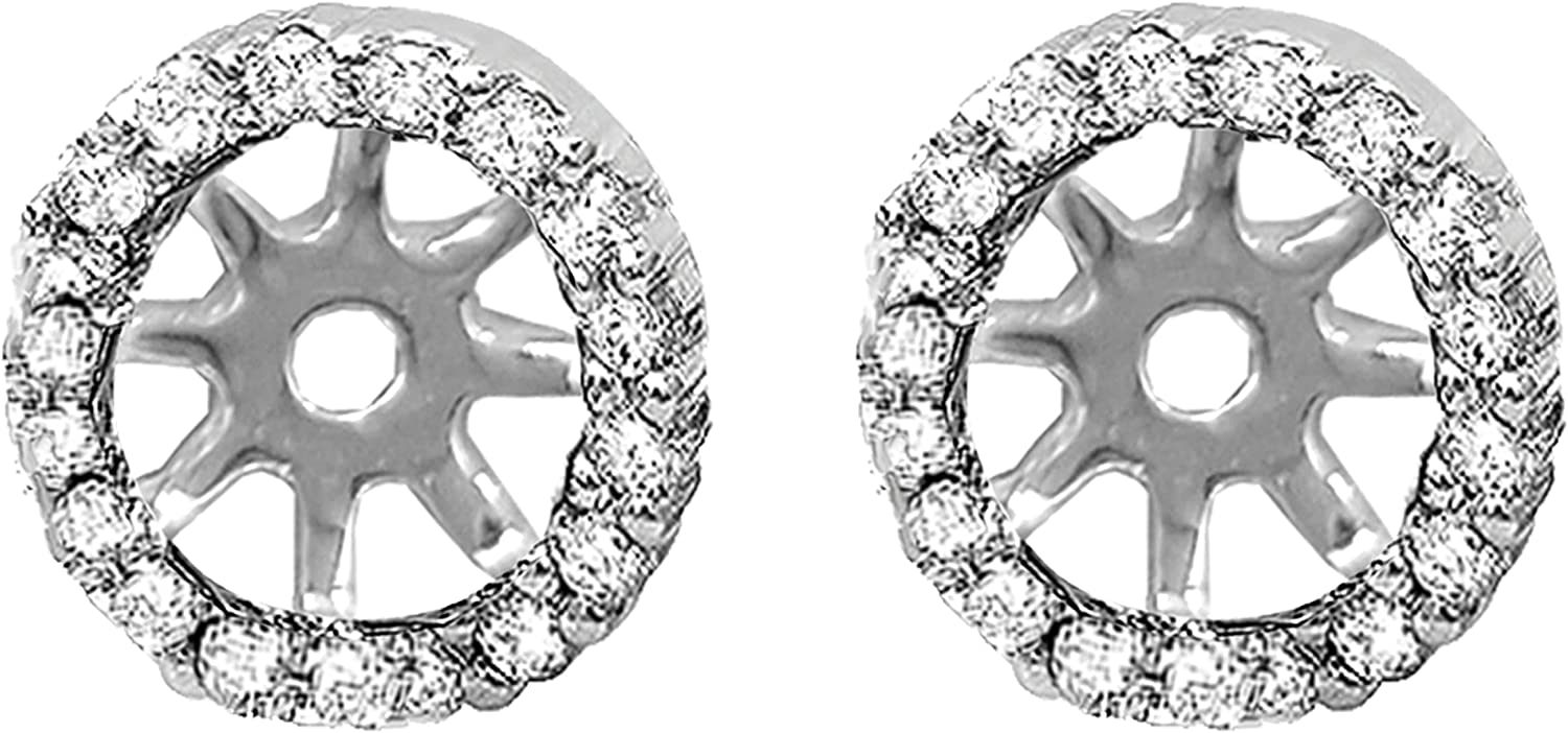 Dazzlingrock Collection 0.25 Carat (ctw) Round White Diamond Removable Jackets for Stud Earrings 1/4 CT, Available in Various Metal in 10K/14K/18K Gold