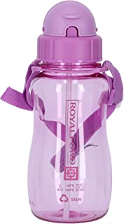 Royalford RF7581PP 500 ml Water Bottle Kids Water Bottle, Toddler Water Bottle with Bendy Straw Portable with Hanging Loo...
