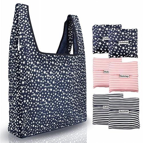 fc1ea126ea Reusable Grocery Bags 6 Pack Heavy Duty Folding Shopping Tote Bag by  Holotap Washable