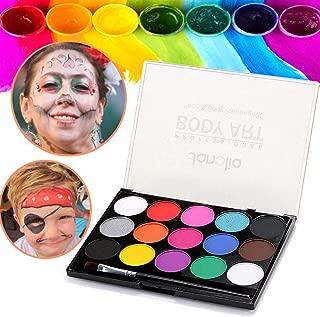 Janolia Pintura Facial, Pintura Corporal con 15 Diversas Colores, Maquillaje para Cuerpo Professionale, Colorantes Naturales y Seguros para Niños y Adulto, Caracterizarse en Fiestas, Halloween