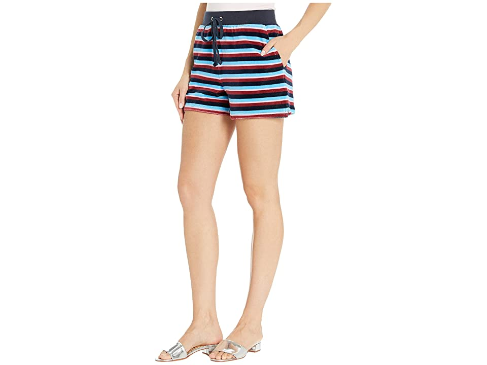Juicy Couture Striped Velour Track Shorts (Blue Stripe) Women's Shorts