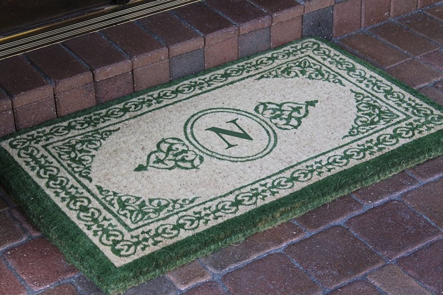 A1 HOME COLLECTIONS Hand-Crafted Green Filigree Decorative Border Extra-Thick Doormat-A1HOME200060-N
