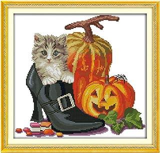 Cleana Arts Kreuzstich-Set, Halloween-Katze, 11 Karat, 48 x 45 cm