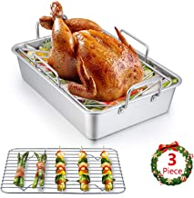 Roasting Pan, E-far 14 Inch Stainless steel Turkey Roaster with Rack, Include Deep Lasagna Pan & V-shaped Rack & Roasting ...