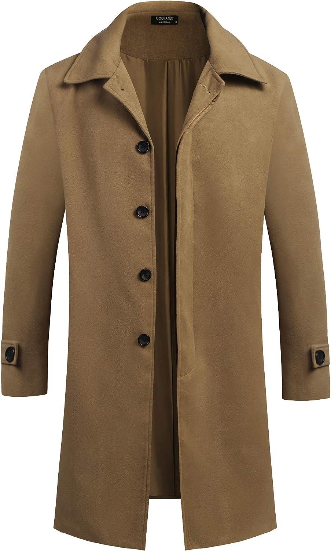 COOFANDY mens Trench Coat,peacoat