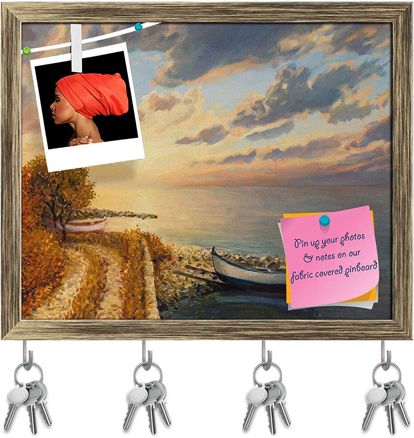 Artzfolio colorful Sunrise Key Holder Hooks   Notice Pin Board   Antique golden Frame 19.7 X 16Inch
