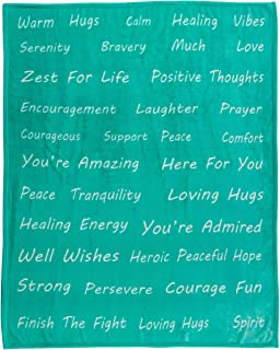 Healing Thoughts Throw Blanket - Inspiring and Comforting Positive Words Get Well Gifts - Teal 50 x 60 - Gift Ready