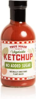 True Made Foods Vegetable No Added Sugar Ketchup, Paleo Certified, Keto, Whole30, Non-GMO 18 oz Glass Bottle