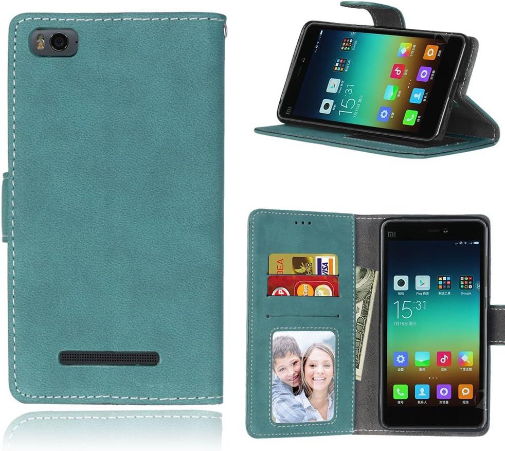 Funda Xiaomi Mi 4i 4c Mi4i Mi4c M4i M4c,Bookstyle 3 Card Slot PU Cuero Cartera para TPU Silicone Case Cover(Azul)