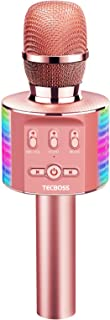 TECBOSS Microphone for Kids, Wireless Bluetooth Karaoke Microphone MP3 Players with LED Lights, Best Gifts Toys for Girls ...