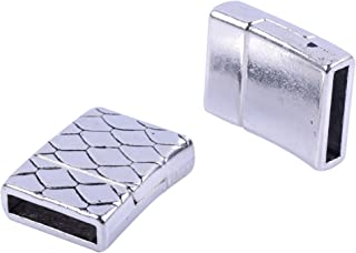 KONMAY 5 Sets 12.x2.0mm Glue-in Style Antique Silver Wave Engraved Jewelry Magnetic Clasps