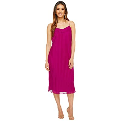 Maggy London Pleated Texture Slip Dress (Berry) Women
