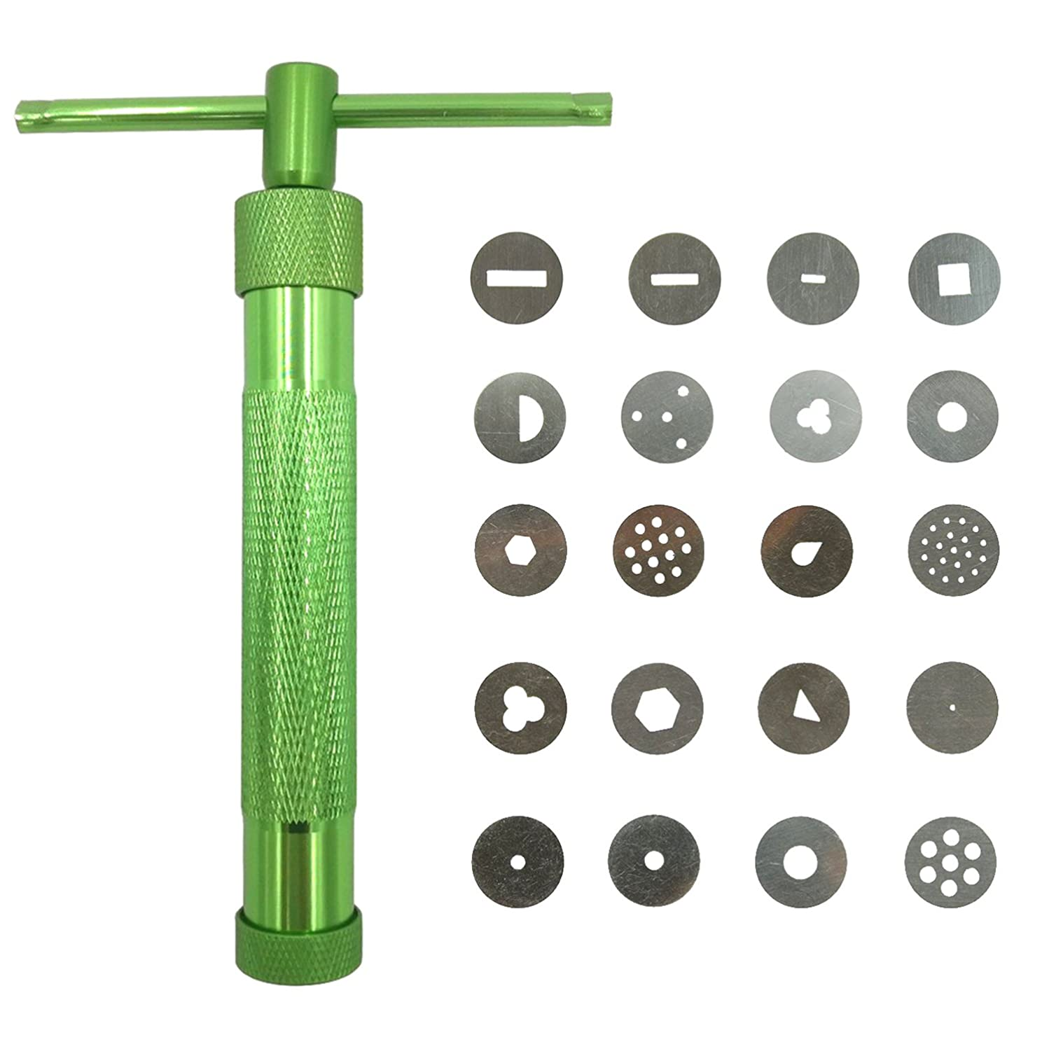 DYWISHKEY Clay Extruder Clay Gun Tool with 20 Discs (Green)