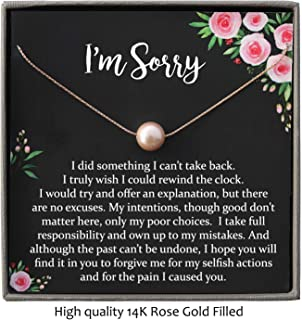 Apology Gifts, I'm sorry gifts for Her, 14K Rose Gold Filled Blush Pearl Necklace with Meaningful Message
