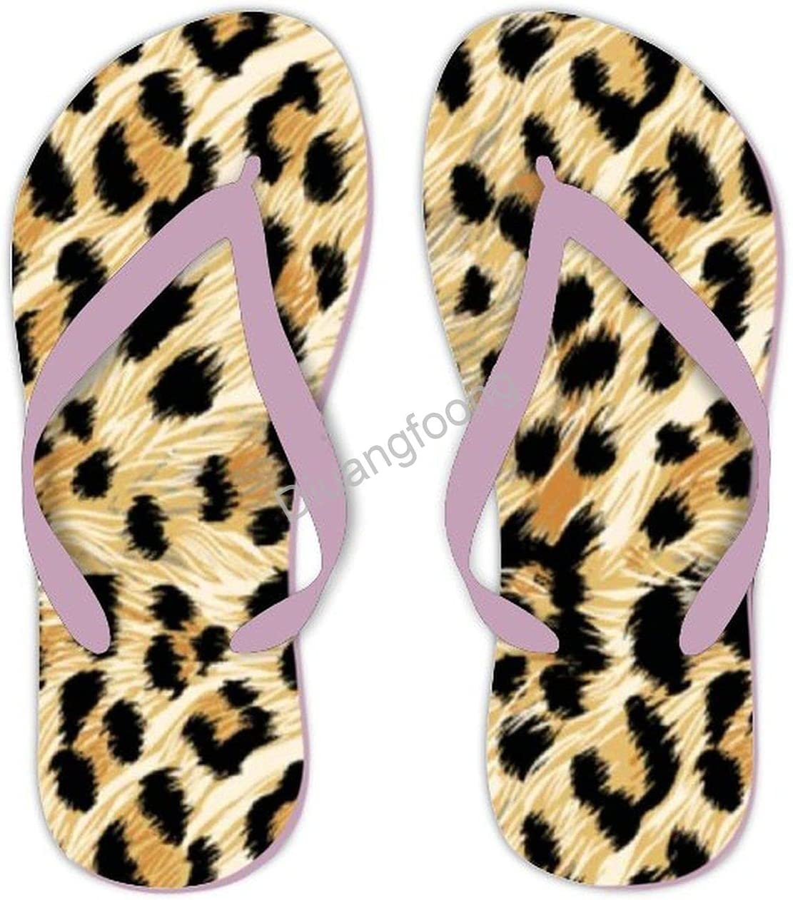 Leopard Flip Flops Beach Soft Thong Sandals Fun Sandal For Home Bathroom Party Pink Style4
