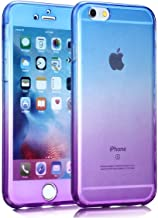 360 Full Protective Case for iPhone X 10 8 7 5 6 S 5S SE 5SE 6S Plus 6plus 6splus 7 8plus Soft Silicone Cover Housing,Blue and Purple,for iPhone 6 6S
