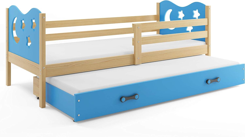Funktionsbett Miko für Zwei Kinder 190x80cm, Farbe  Kiefer + 2. Farbe zur Wahl; mit Lattenroste und Matratzen (Blaue Sterne)