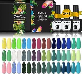 Gel Nail Polish Set, OMGelic 27 Pcs Gel Polish Set Cyan Green Soak Off Nail Gel Polish Kit with Base, Glossy Top and Matte...
