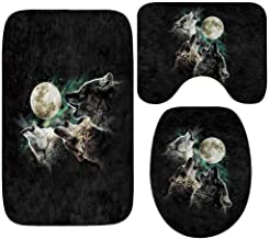 HOLD HIGH Bath Mats, 3PC Non Slip Washable Bathroom Carpets Bedroom Door Floor Rugs Doormats with Scary Animal Wolf Pattern, Pedestal Rug + Lid Toilet Cover + Bath Mat Set