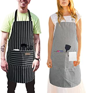 Cooking Aprons 2 Pack, Adjustable Bib with 2 Pockets Kitchen Apron, Chef Apron for Women or Men Gbrilnzar