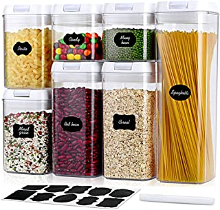 Airtight Food Storage Containers with Lids - 7 PC Set - Kitchen Pantry Organization and Storage Container, BPA Free Plasti...