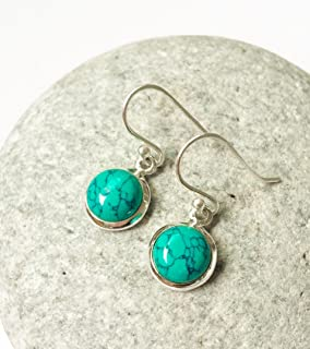 Turquoise sterling silver earrings, Round Turquoise dangle earrings, Natural gemstone, Turquoise jewelry, Simple tiny Turquoise earrings