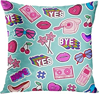 Suike Throw Pillow Cover Patches Stickers Badges Pins with Cell Phones Heart Shaped Sunglasses Lips Hidden Zipper Home Sofa Decorative Cushion Case 16x16 Inch Square Printed Pillowcase