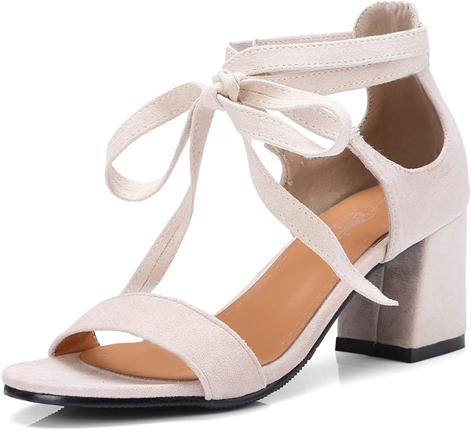 DoraTasia Women's Fashion Sweet Lace up Ankle Wrap Sandals Mid Heel Chunky Sandals Dress shoes