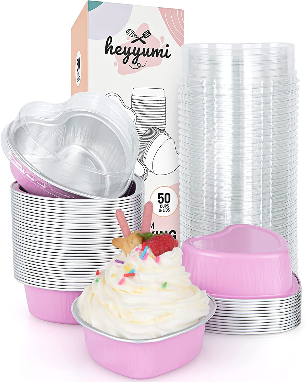 Finally popular brand Aluminum Foil Cupcake Baking Cups Heart Heyyumi Import 50pcs 3.4oz Mini