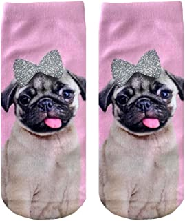 PUG WITH GLITTER BOW ANKLE SOCKS BY LIVING ROYAL