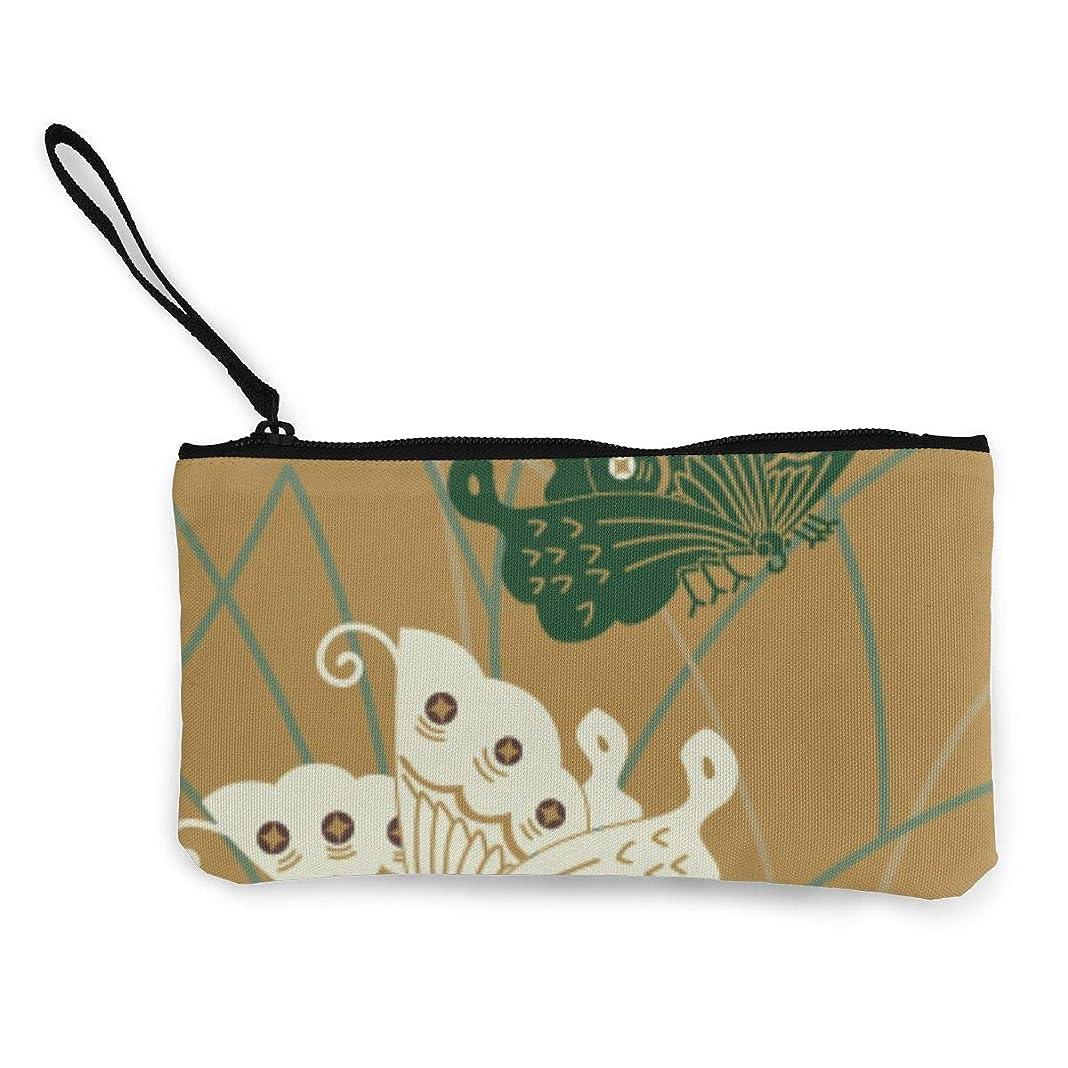 粘り強い不良品ウェイドErmiCo レディース 小銭入れ キャンバス財布 唐織の蝶 小遣い財布 財布 鍵 小物 充電器 収納 長財布 ファスナー付き 22×12cm