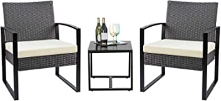 Flamaker 3 Pieces Patio Set Outdoor Wicker Patio Furniture Sets Modern Bistro Set Rattan Chair Conversation Sets with Coffee Table for Yard and Bistro (Grey and Cream)