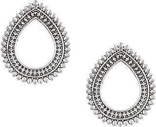 Oxidised Antique Silver Stylish Oxidised Afghani Stud Hoop Earrings For Women (SJ_1384)
