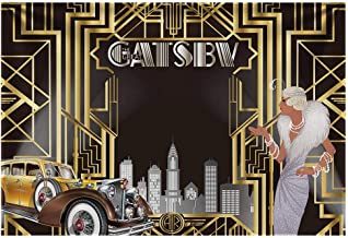 Allenjoy 7x5ft Durable Fabric The Great Gatsby Themed Backdrop for Adult Celebration Retro Roaring 1920 s 1920s Party Happy Birthday Wedding Decoration Pictures Background Photo Booth
