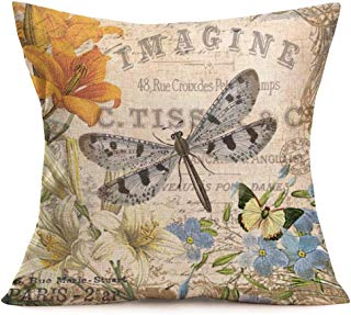 Smilyard Throw Pillow CoversAdorable AnimalsDragonfly ButterflyFlower Decorative Pillow CaseCotton Linen Square Throw PillowcasesHome Couch Quote Cushion Cover 18X18 Inches(Dragonfly)